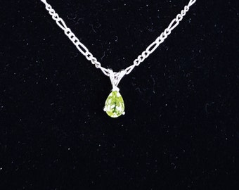 Pear Cut Peridot Birthstone Pendant Necklace, August Birthstone Jewelry, Gemstone Necklace, Green Pendant, Fine Jewelry