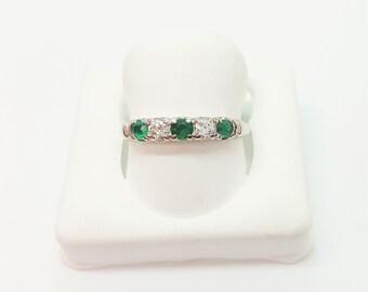 Vintage Platinum 5 Stone Emerald & Diamond Band Ring Size 6