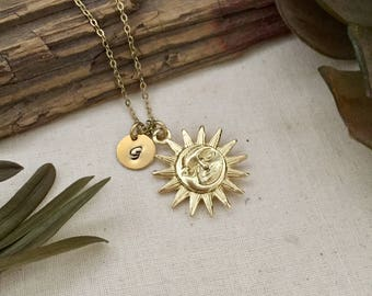 Sun and Moon Necklace, Initial Necklace, Hand stamped Necklace, Best friend Gift, Handmade Jewelry, Bridesmaid Gift