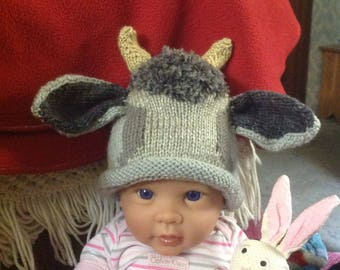 Knit Baby Goat, Billy Goat hat