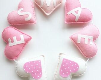 Personalised Heart Bunting, Personalised Garland, Pink Bunting, Heart Garland, Personalised Nursery Bunting, Nursery Decoration, Baby Girls