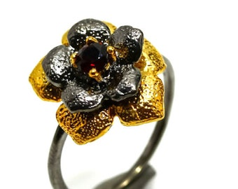 925 sterling silver and natural Garnet ring size FR 56. Natural garnet and 925 sterling silver ring size 7.5