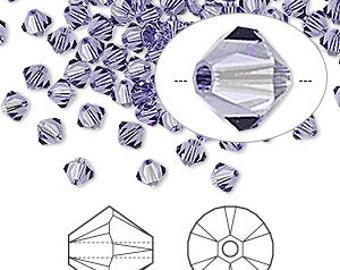 4mm Tanzanite - Swarovski Bicone Crystals - Tanzanite Purple - Package of 200