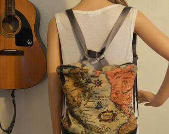 Maps Backpack and Shoulder Bag