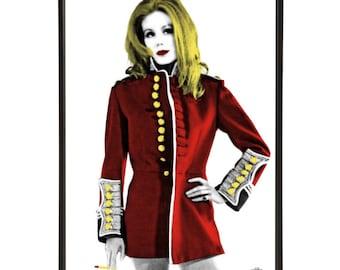 Kiss My Buttons - Pop art portrait of Joanna Lumley, the absolutely fabulous model Bond-Girl and Avenger