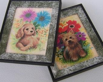 Vintage Framed Puppy Prints Puppies K. Chin Seventies