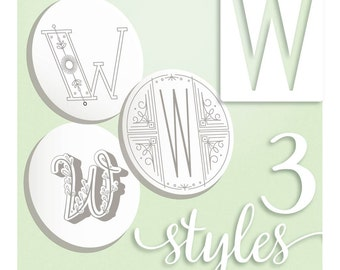 Modern Monograms Letter W hand embroidery patterns in three styles Alphabet Letter embroidery designs by SeptemberHouse