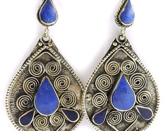 Earrings Silver Lapis Insets Afghanistan 102470