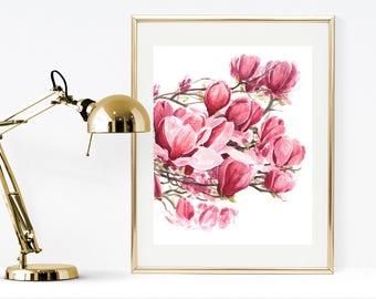 Watercolor Magnolia, Printable Magnolia, Magnolia print, watercolor print, printable flowers, floral wall art, flowers wall art, flowers art
