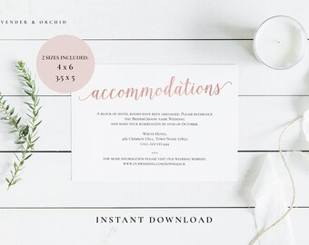 Wedding enclosure cards, Wedding accommodation templates, Wedding template, Instant download, Editable PDF, DIY card, Rose gold enclosure