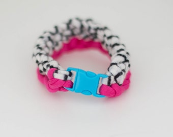 Pink/Black + White Crochet Bracelet with Mini Buckle Closure