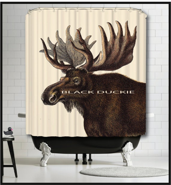 Moose Shower Curtain Cabin Shower Curtains Northwoods