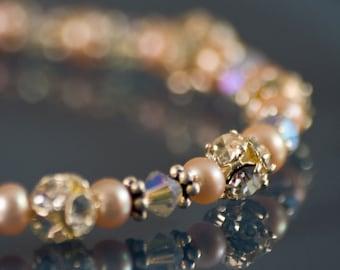 Peachy Pearl Bracelet Vintage Swarovski Handmade Bridal Delicate Vintage Colors