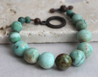 Light Turquoise and Deep Copper Bracelet