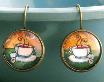 Morning Tea Earrings Tea Cup Teacup Jewelry