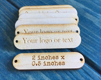 Personalised tags, 2 inch x 0.5 inch, custom logo tags, logo branding, branding tags, etched tags, laser cut text tags, logo tags, packaging