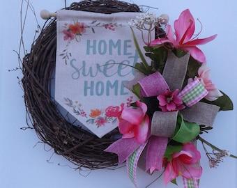 Spring Wreath, Summer Wreath, Grapevine Wreath, Front Door Wreath,