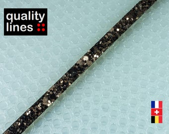 Glitter X 18CM - 5mm bronze Brown 2 mm flat leather (18 cm is enough to make a bracelet up to size XL)