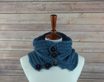 Fine Ribbed Neck Warmer Cowl in Blue with 5 Wooden Buttons. For Men and Women. 100% Acrylic, Hypoallergenic.