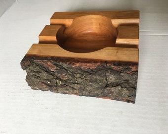Live edge American Cherry wood cigar ashtray - 4 cigar capacity