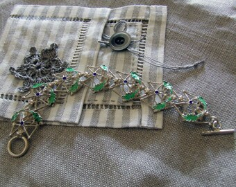 Silver bracelet: bay leaves