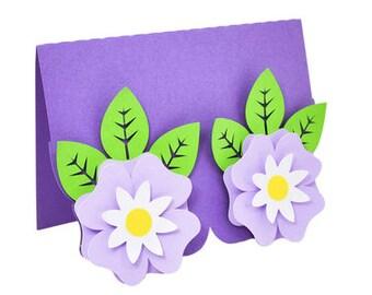 Cute Flowers Blank Card , bloom , Friends , Family , PaperCut , Leaves , Spring