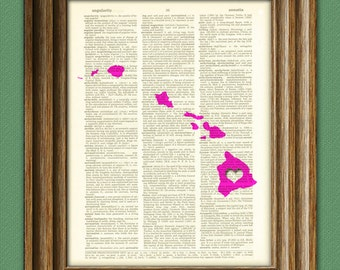 My Heart is in Hawaii state map awesome upcycled vintage dictionary page book art print