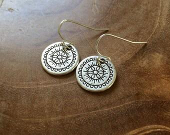 Mandala - silvertone dangling earrings with metal charm with mandala pattern - boho, bohemian, gypsy, hippie, round, ibiza, geometric