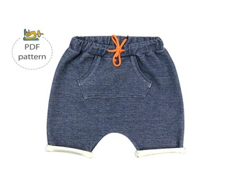 Baby shorts pattern, Baggy shorts kids pattern, toddler harem shorts pattern, front pocket baby shorts pattern, modern shorts pattern pdf