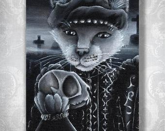 Hamlet Cat Holding Yorick Skull Shakespeare Literary Cats Fine Art Print 5x7