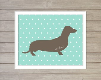 Dachshund Pet Name Plate Personalized Wall Art Printable - 8x10 - Daschund Polkadot Digital Poster Wall Art Dog Lover Gift for Dog Owners