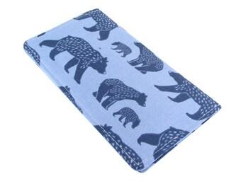 Checkbook Wallet - Slim, Two Pocket Design Holds Cash And Checkbook - Cute Bear Fabric - Women's Stocking Stuffer
