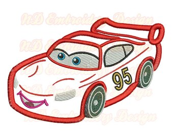 Red Car Face Embroidery Applique Design,  race car machine embroidery,  vl-006