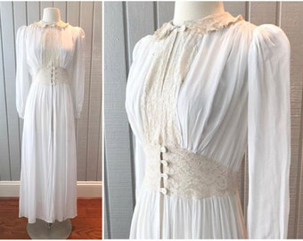 1930s Ethereal Dressing Gown | Sheer Ivory Duster | Boho Festival Dress | 1940s Silk Chiffon Robe | Daphne | Vintage Clothing