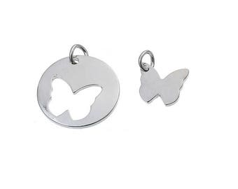 SET of 2 charm mother daughter pendant round Medal with butterfly Silver (B48)