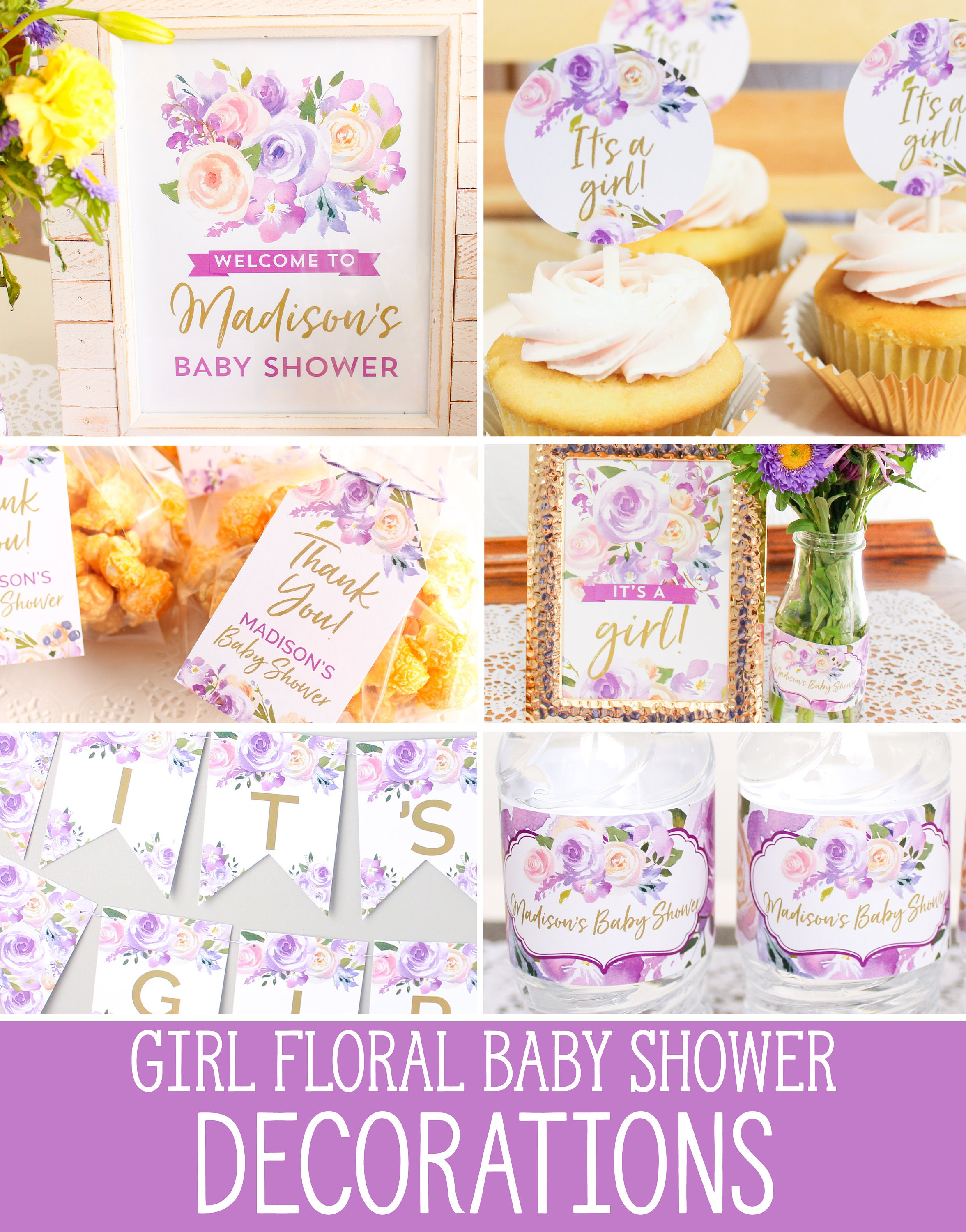 Baby Shower Decorations Girl purple floral printable baby girl