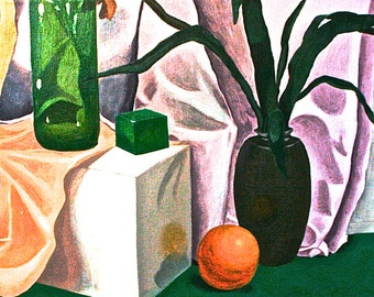 """Original Oil Painting Hawaii Still Life. 22""""x20x1"""" sides painted ready to hang. Drapery Oranges Bottles Vase with Hawaiian Plants"""