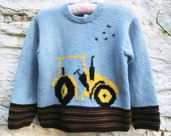 Childrens Knitting Pattern PDF, Tractor Sweater Knitting Pattern, Childs Sweater PDF, Tractor Motif, Childs Birthday Gift, Childs Jumper,