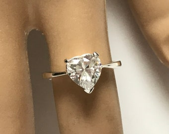 Sterling Silver Heart Solitaire Cubic Zirconia cz Ring