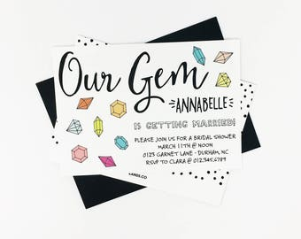 Gem Party Invitation | Jewels, Gems, Pink, Green, Blue, Orange, Yellow, Bridal Shower, Birthday, Baby Shower, Boy Baby, Girl Baby, Multi