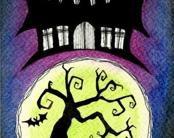 Original Art - Haunted House - Spooky Halloween Gothic Goth Creepy Horror Tombstone Tree Mansion Bat Silhouette Moon Purple Blue Green