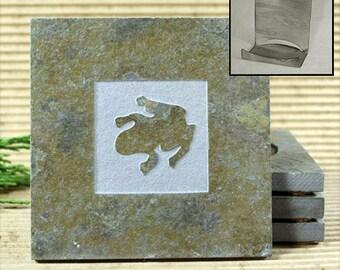 Frog - Real Etched Slate Coaster Set with Holder