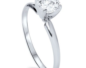 Solitaire Diamond Engagement Ring , Round Brilliant Cut Diamond .85CT Solitaire 14K White Gold Engagement Ring