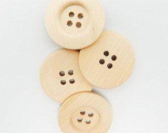 Large Natural Wooden Buttons - 40mm  - 4 Hole - Unfinished Wood Button (P0086RF)