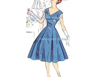 Plus Size (or any size) Vintage 1950s Evening Dress Pattern - PDF - Pattern No 115 Roberta  50s  Fashion Sewing Instant Download