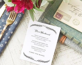 Wedding Agenda Card, Printable Wedding Timeline Letter, Events Card, Quill, Itinerary, Agenda, Hotel Card - INSTANT DOWNLOAD