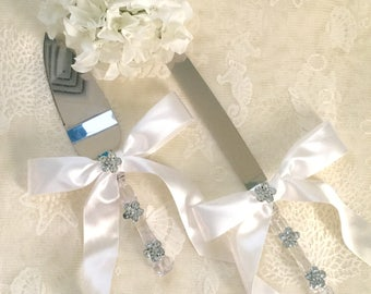 Embellished Wedding Cake Knife and Server, Bone Silk Wedding Cake Server, Rhinestone Wedding Cake Server, Bone Wedding Cake Cutter.