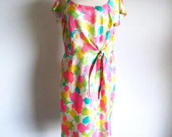 60s Flower Print Dress, Metal Zipper Silk Frock