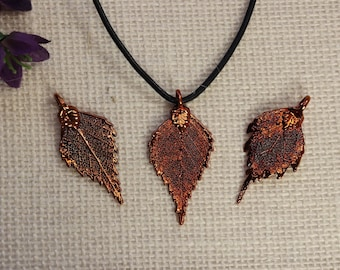 SALE Leaf Necklace, Copper Leaf, Birch Leaf, Boho Jewelry, Leaf Pendant, Real Birch Leaf Necklace, SALE379