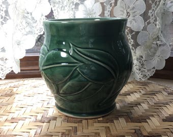 Carved Porcelain Vase with Leaves